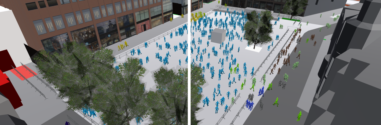 Crowd simulation and social distancing image